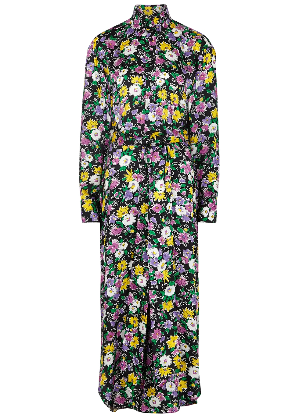 Floral-print satin-twill shirt dress