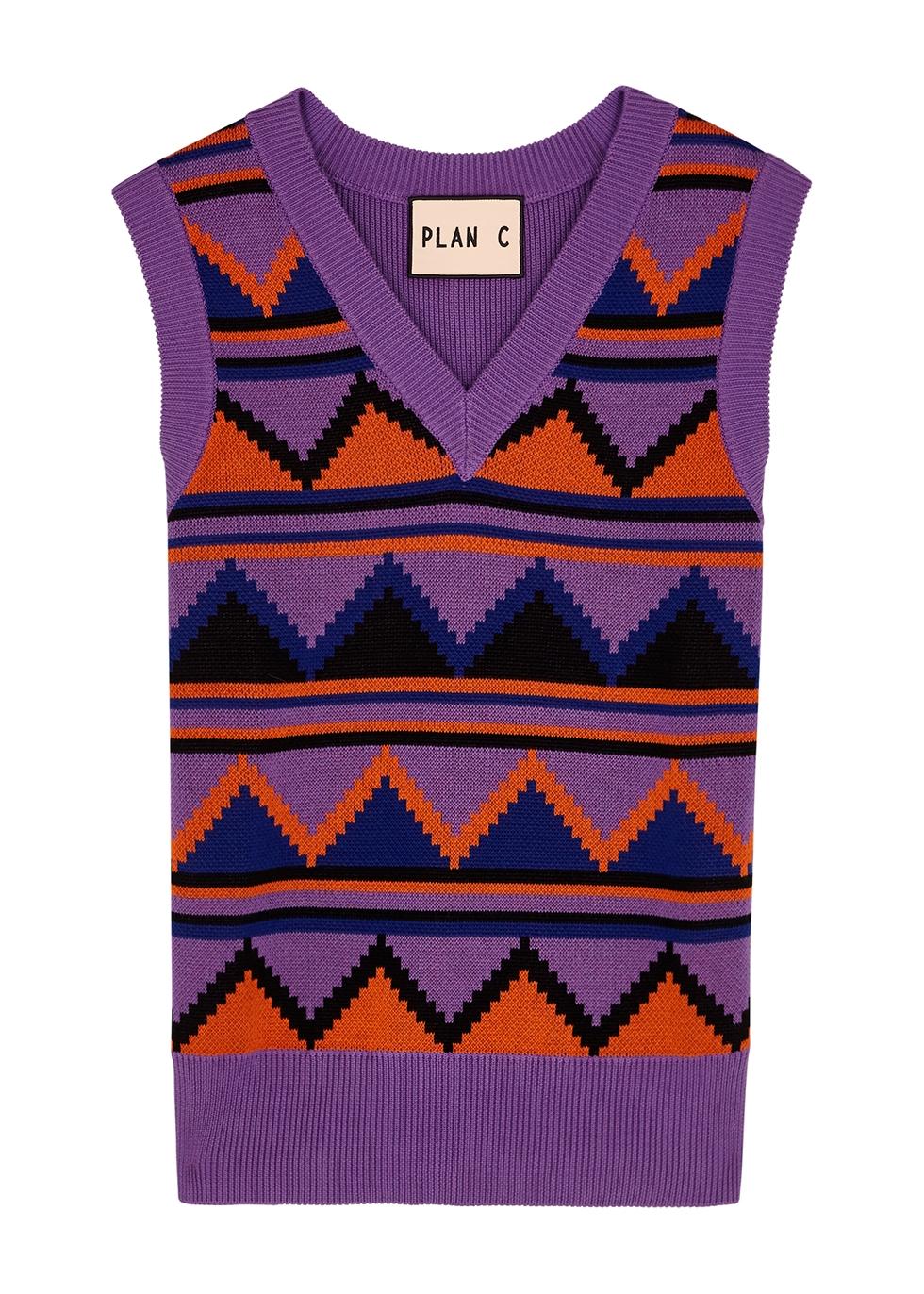 Purple intarsia knitted tank