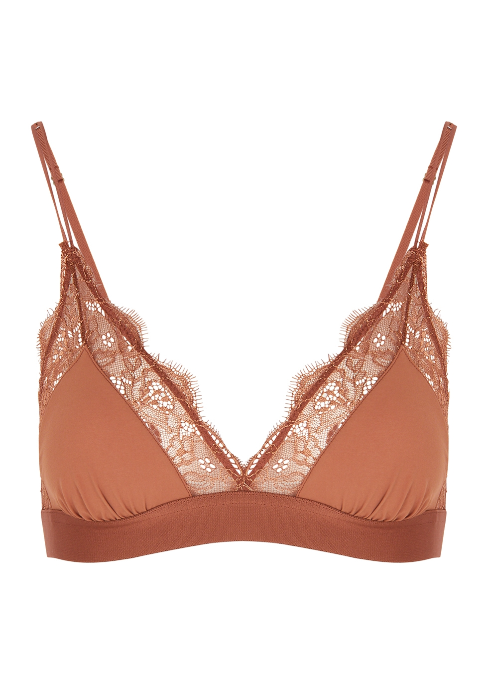 Love Lace brown lace-trimmed soft-cup bra