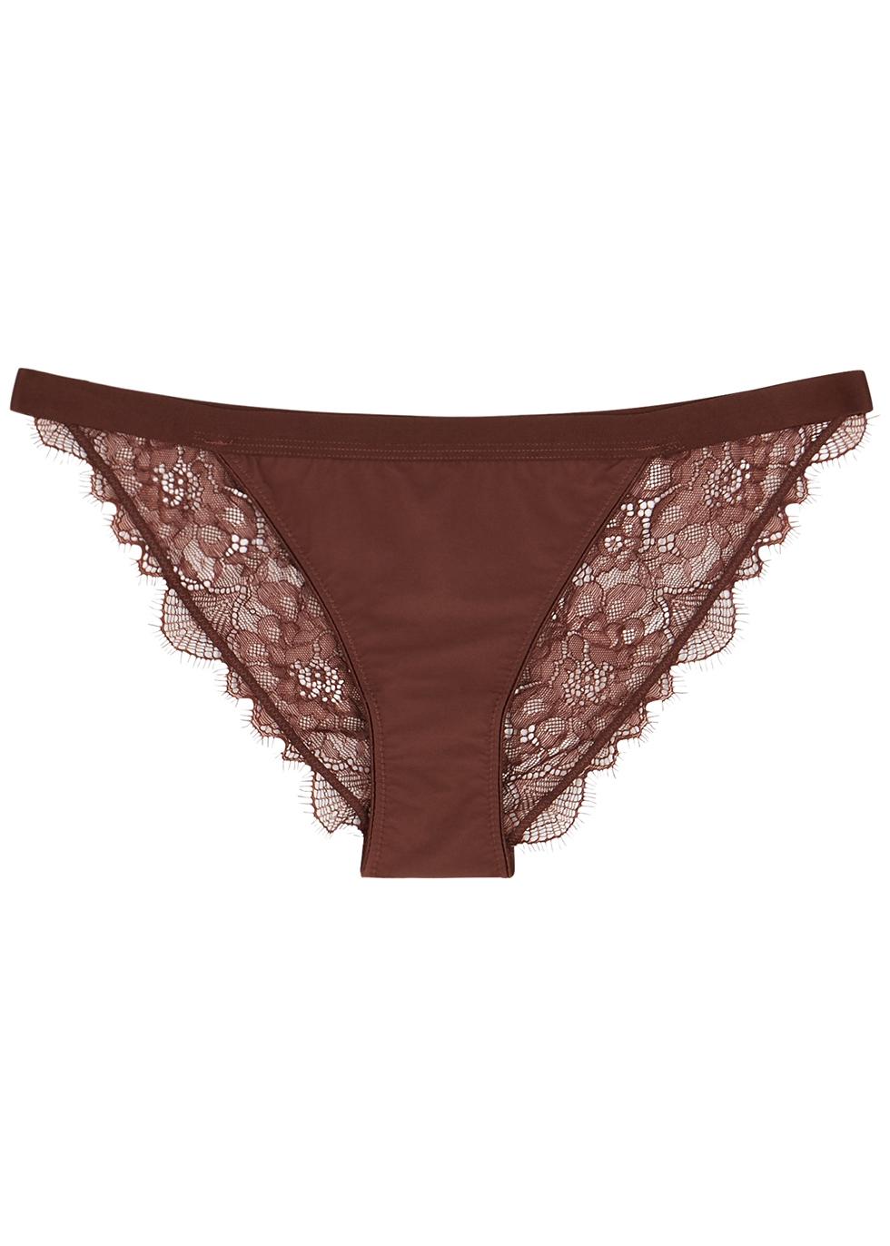 Wild Rose dark brown lace briefs