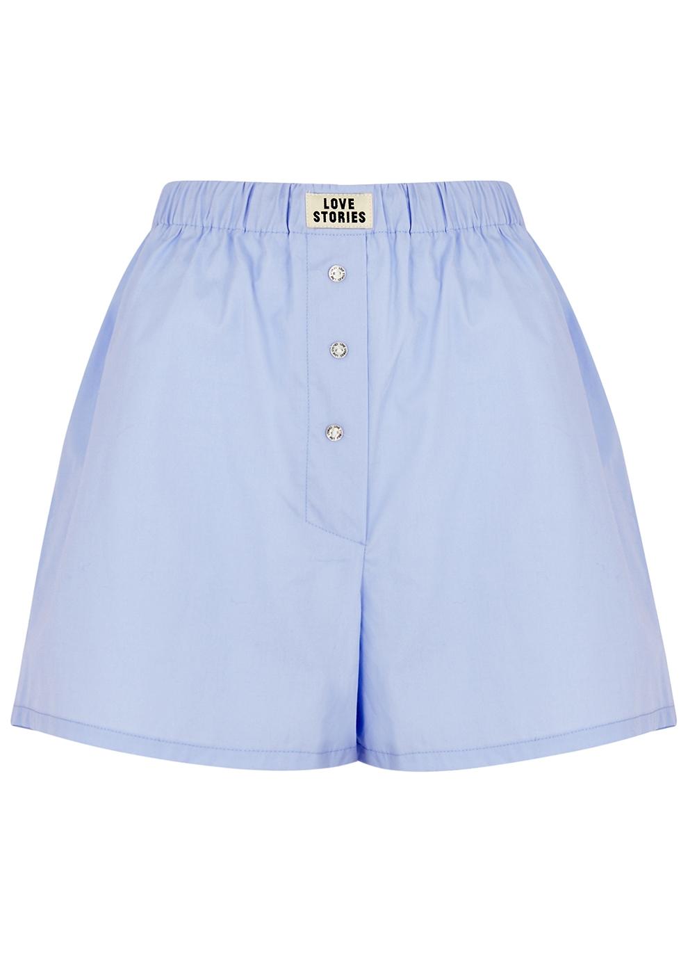 Sunday Long blue cotton pyjama shorts