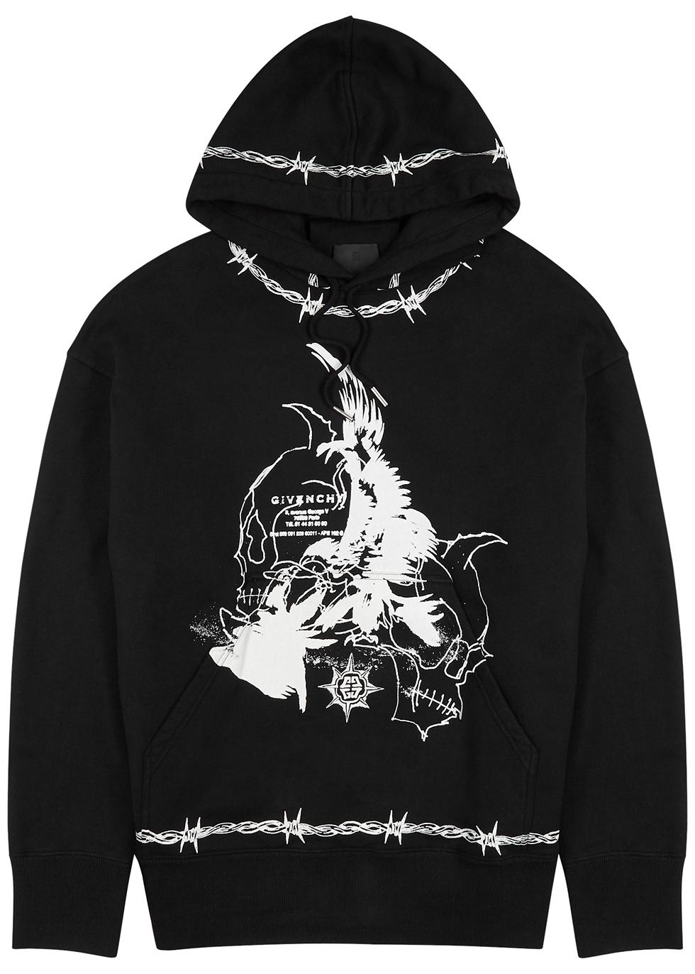 Black printed hooded cotton sweatshirt