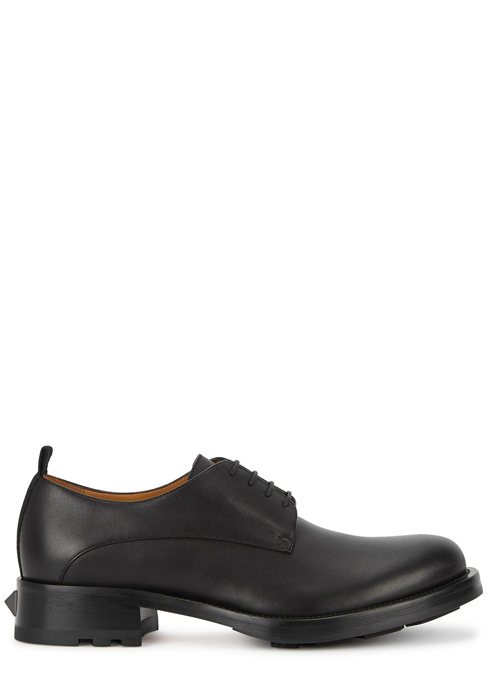 Valentino Garavani black leather Derby shoes
