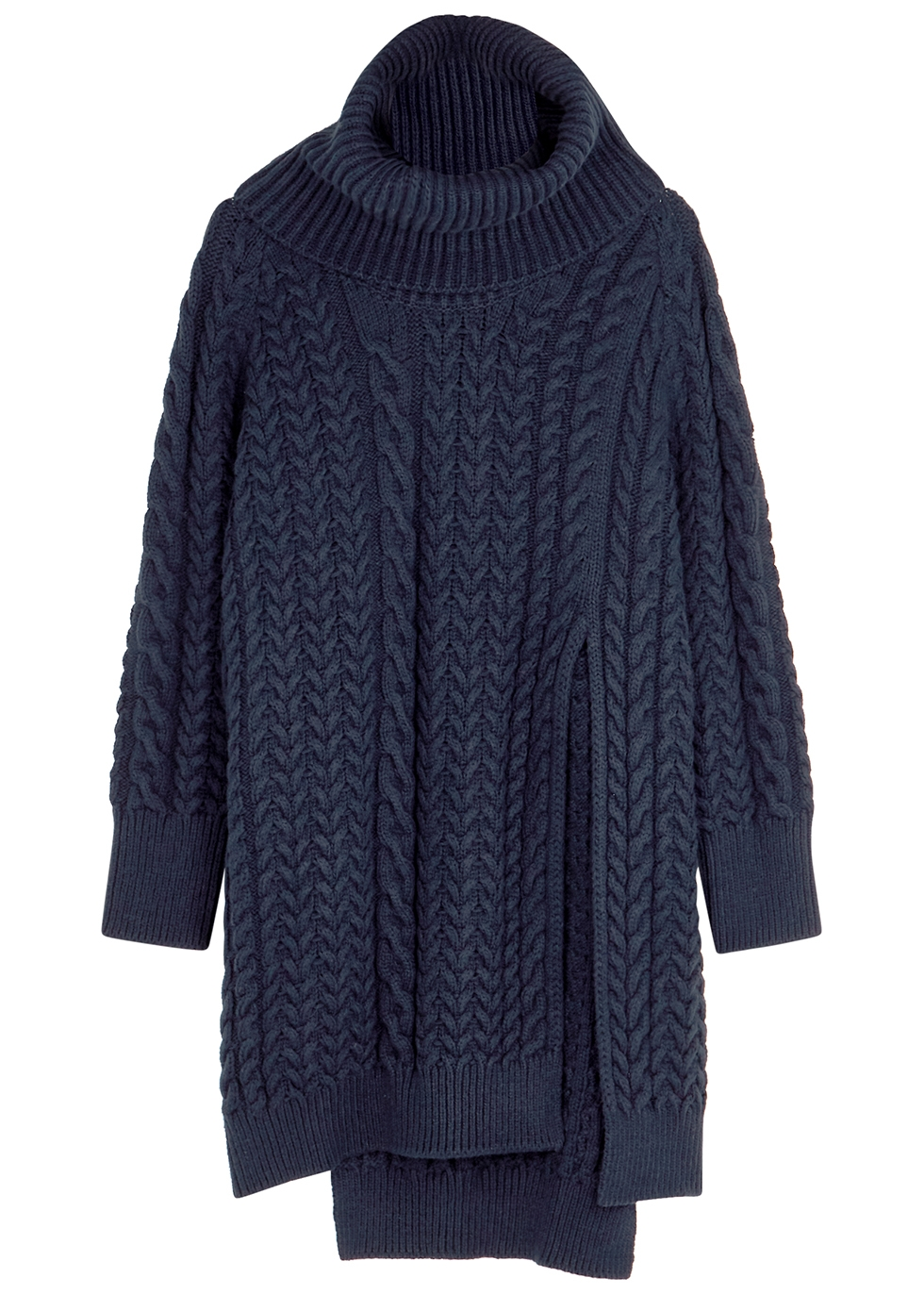 Navy roll-neck cable-knit jumper