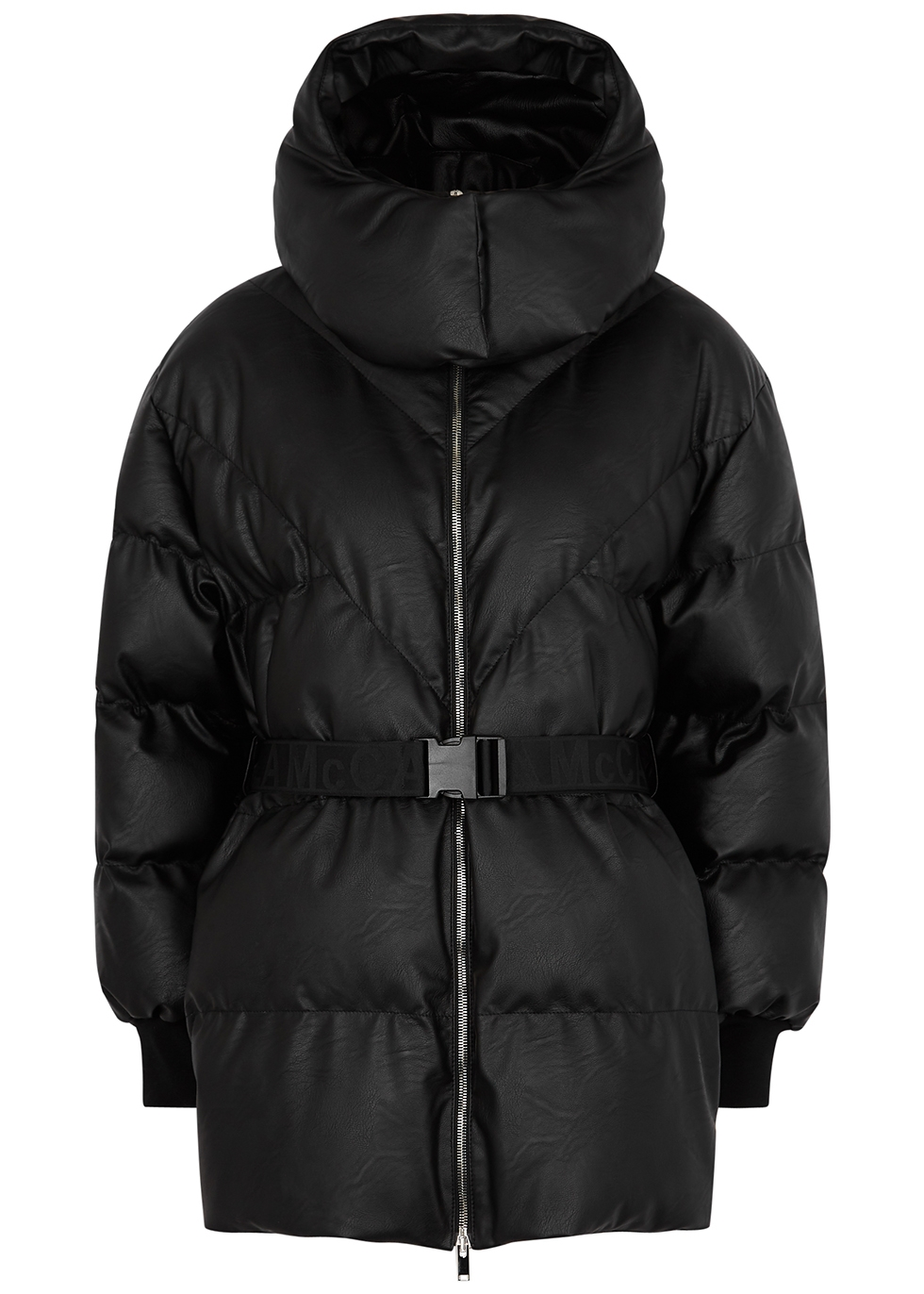 Kayla black belted quilted faux leather coat