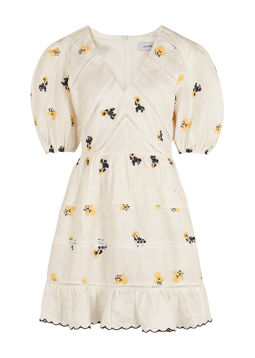 Emma white embroidered linen mini dress