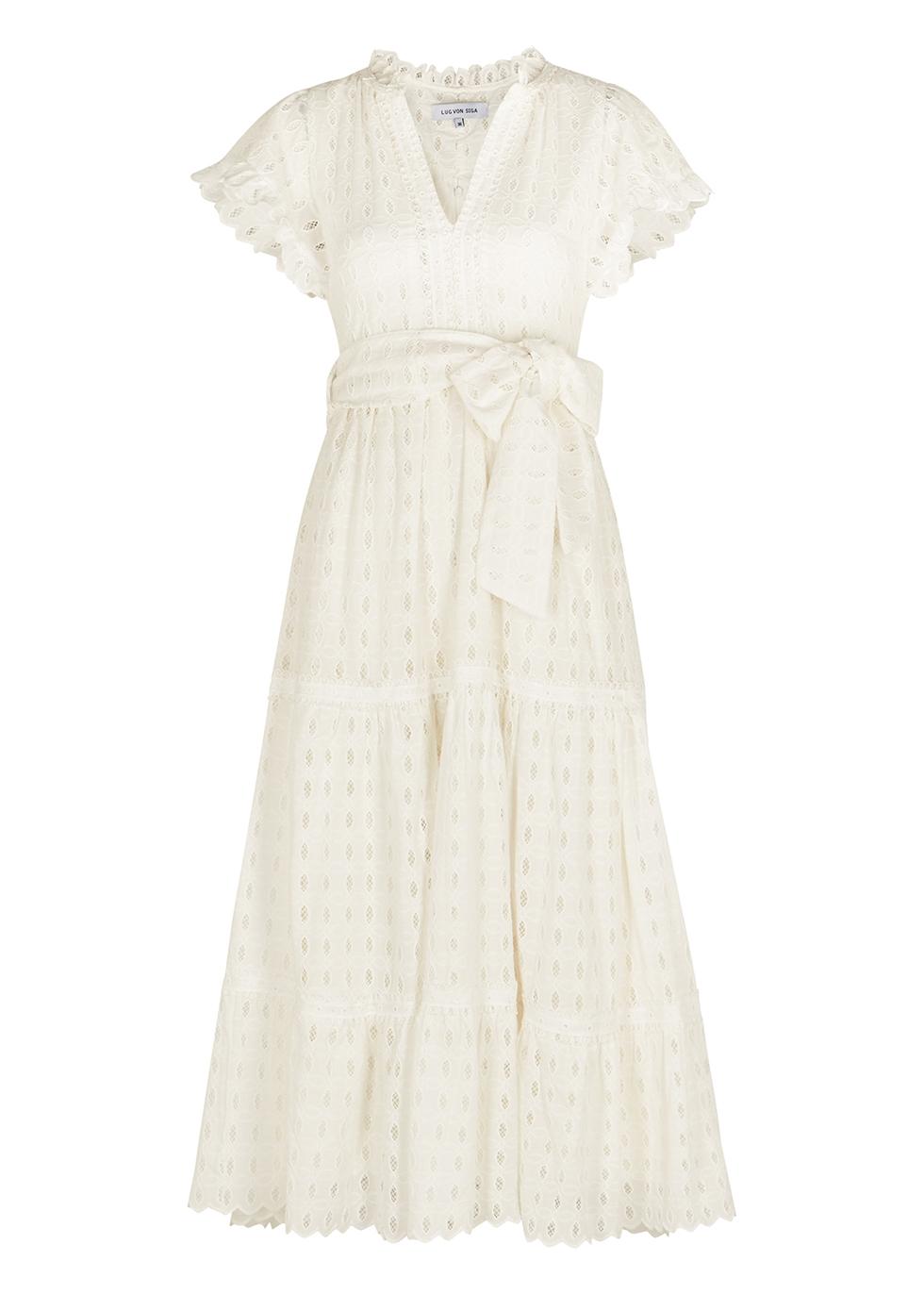 Sofia embroidered stretch-cotton midi dress