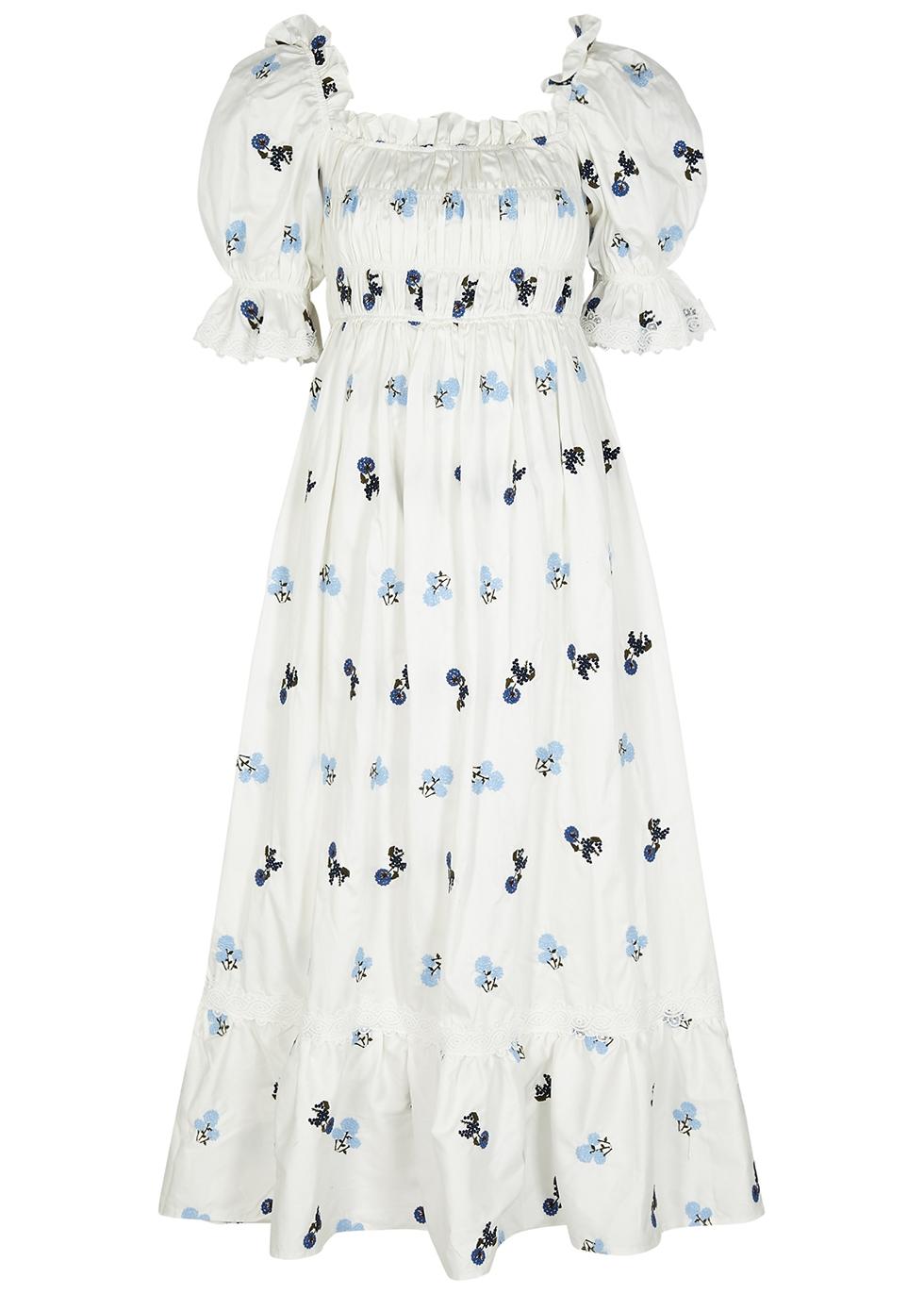 Elisa floral-embroidered cotton midi dress