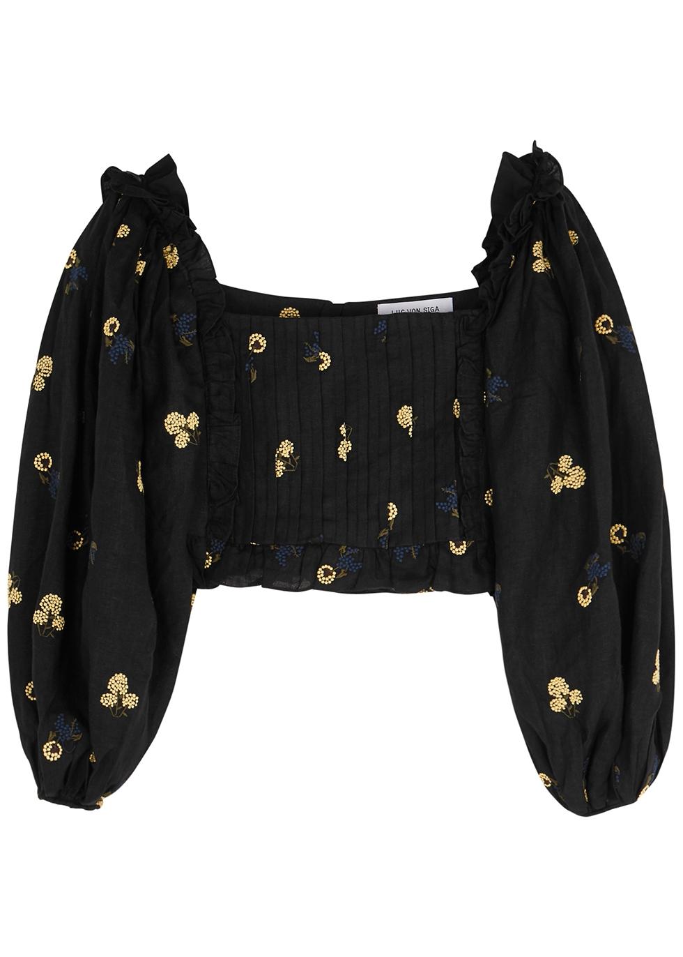 Daphne black embroidered linen top