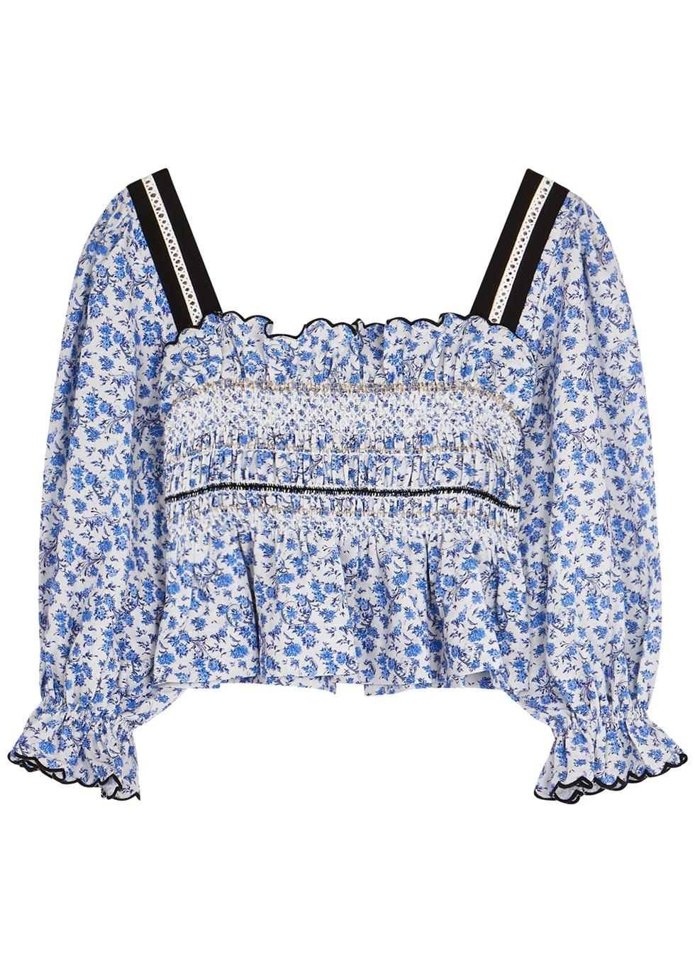 Elisa floral-print cotton-blend top
