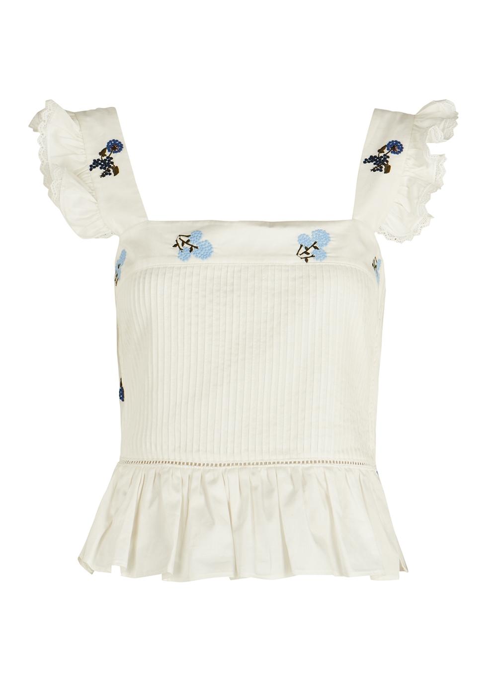 Ornella white embroidered cotton top