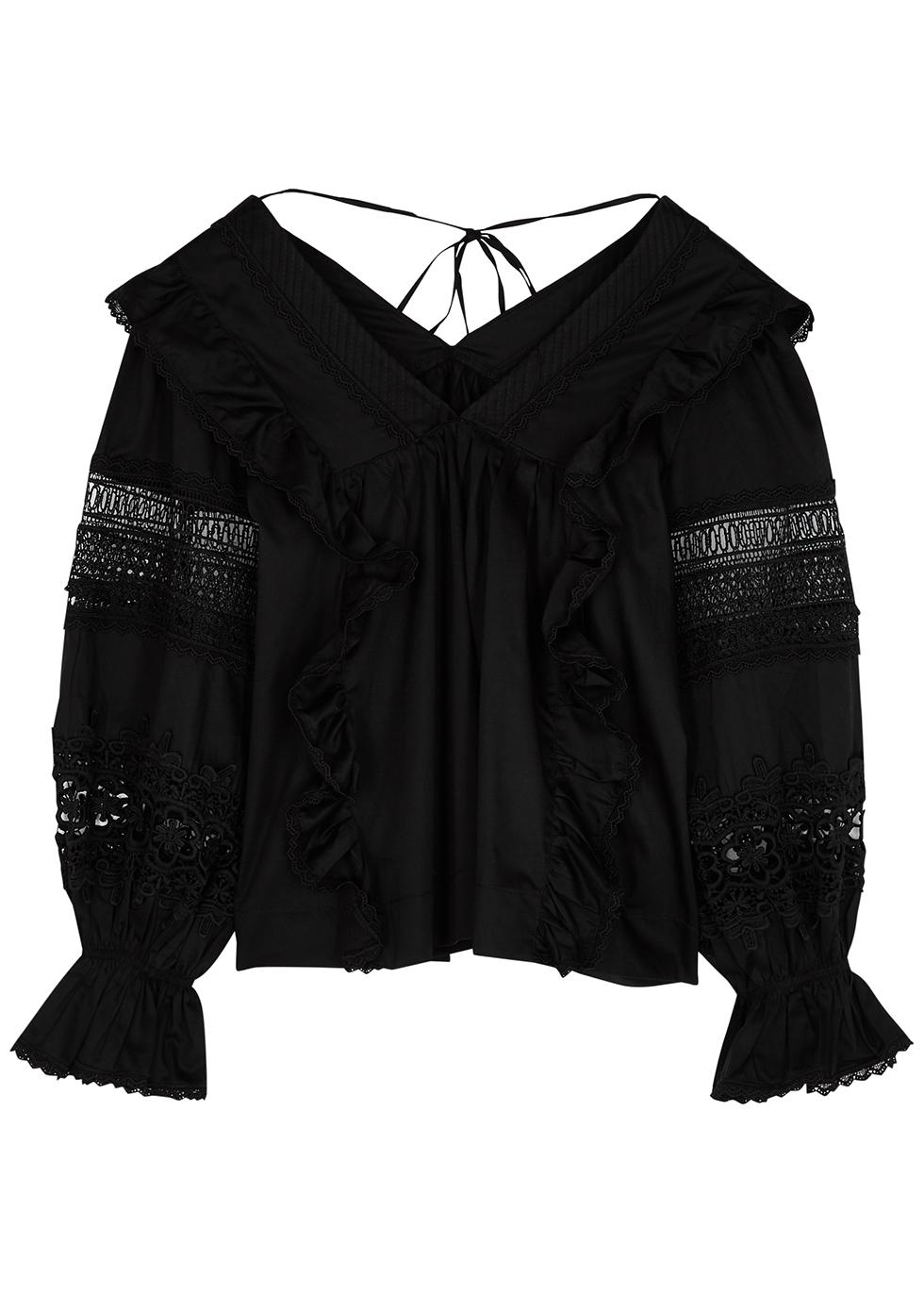 Carla black lace-trimmed cotton blouse