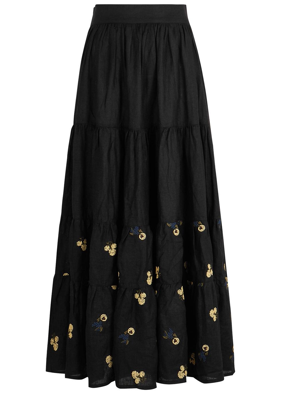 Daphne black embroidered linen skirt