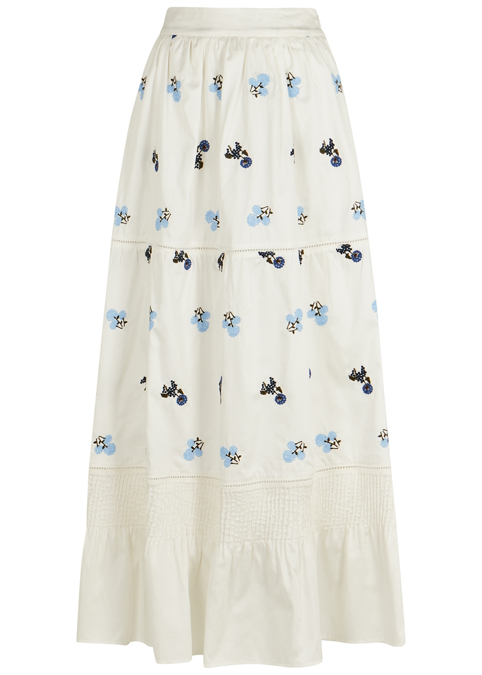 Ornella white embroidered cotton maxi skirt