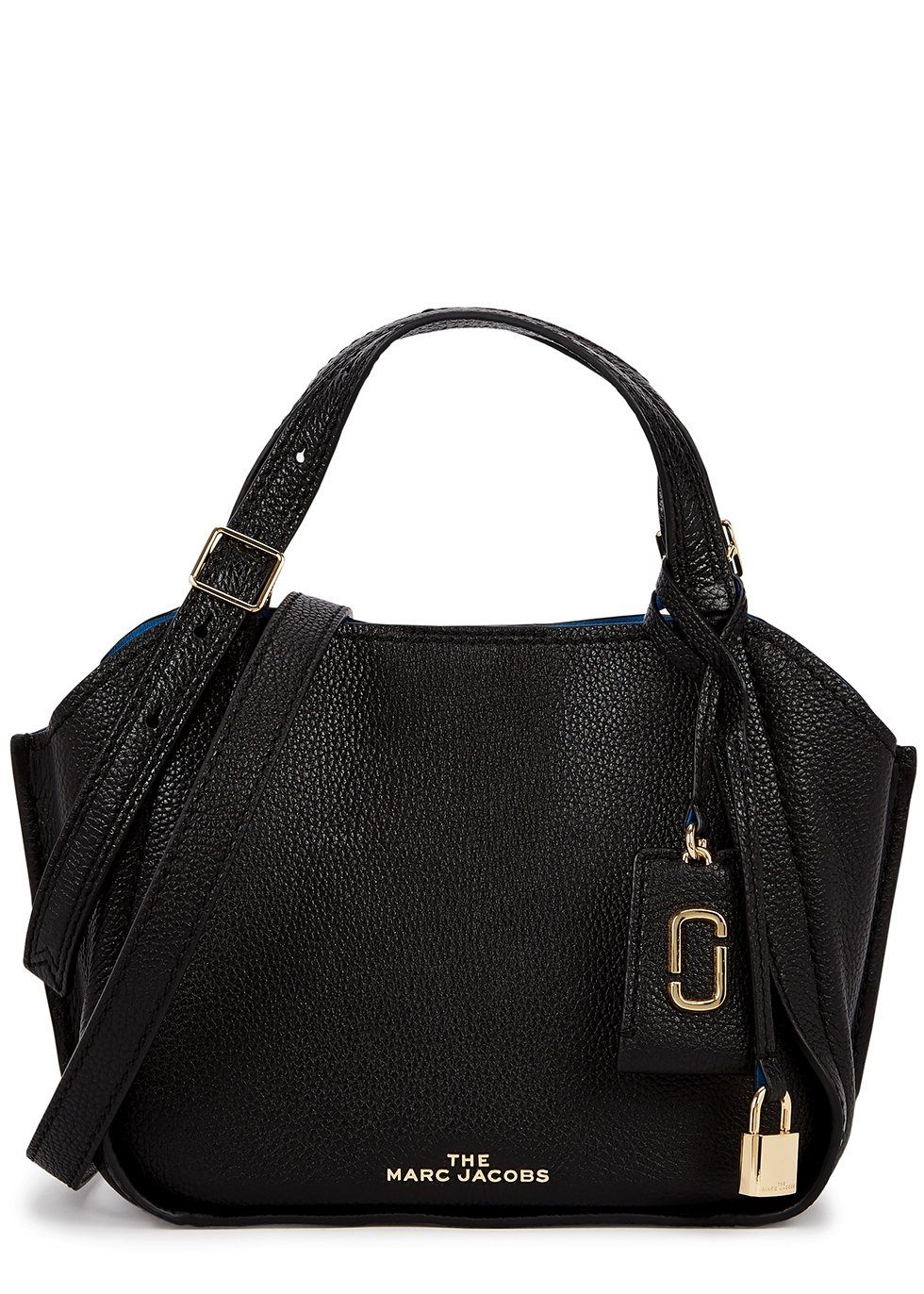The Director mini black leather top handle bag