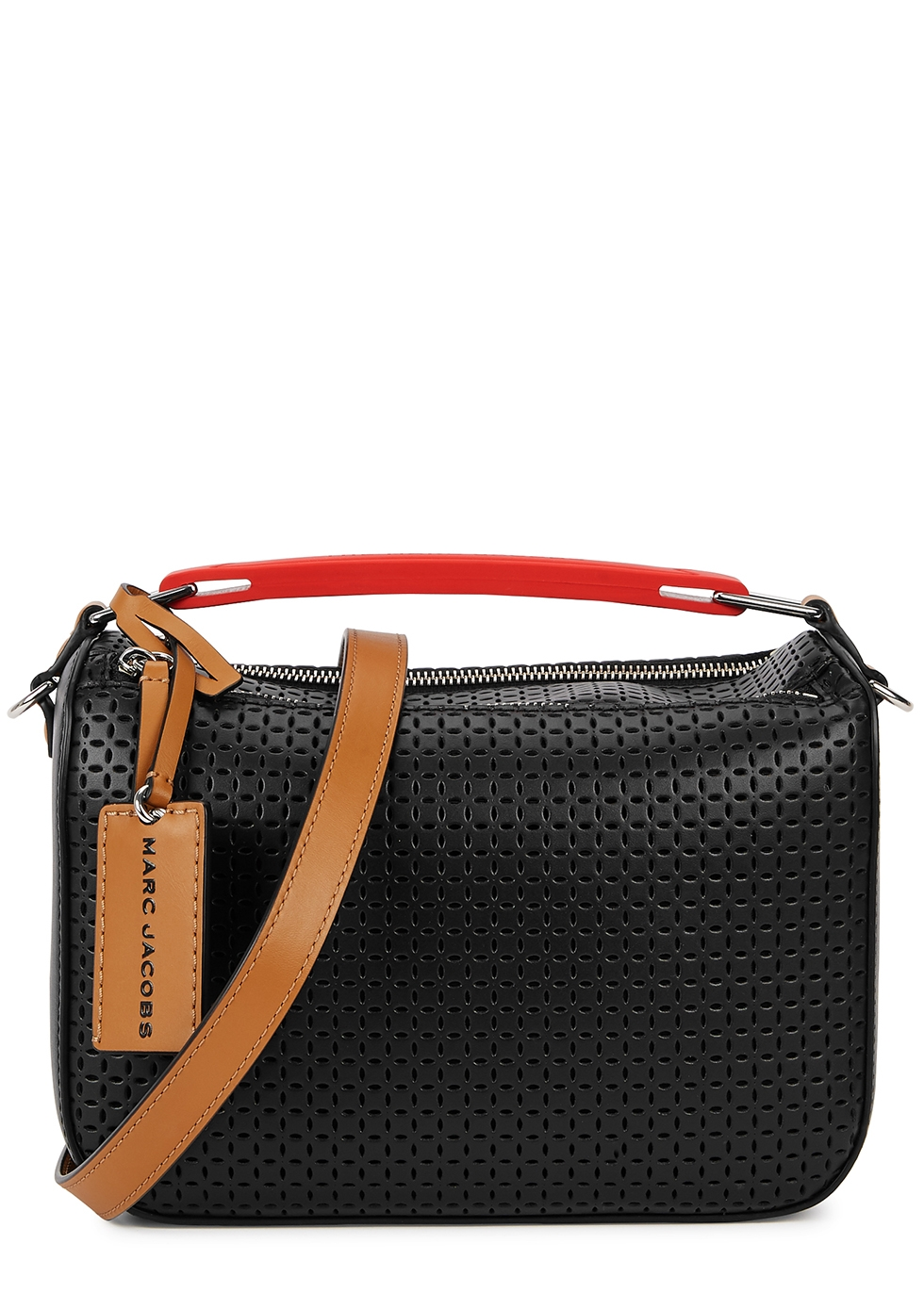 The Soft Box black perforated leather cross-body bag