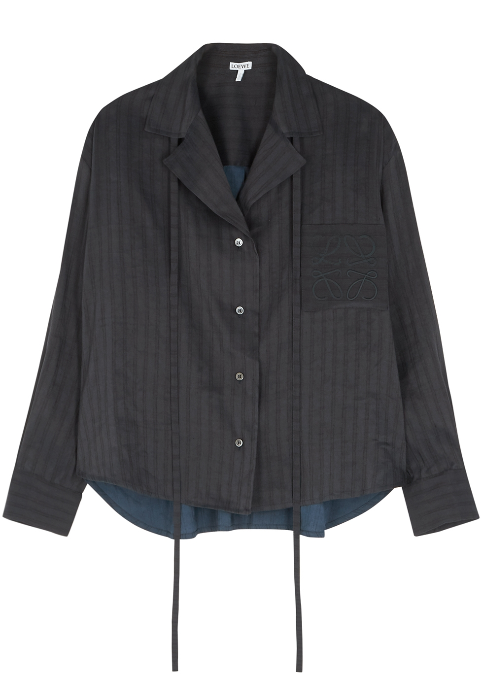 Navy striped linen-blend blouse