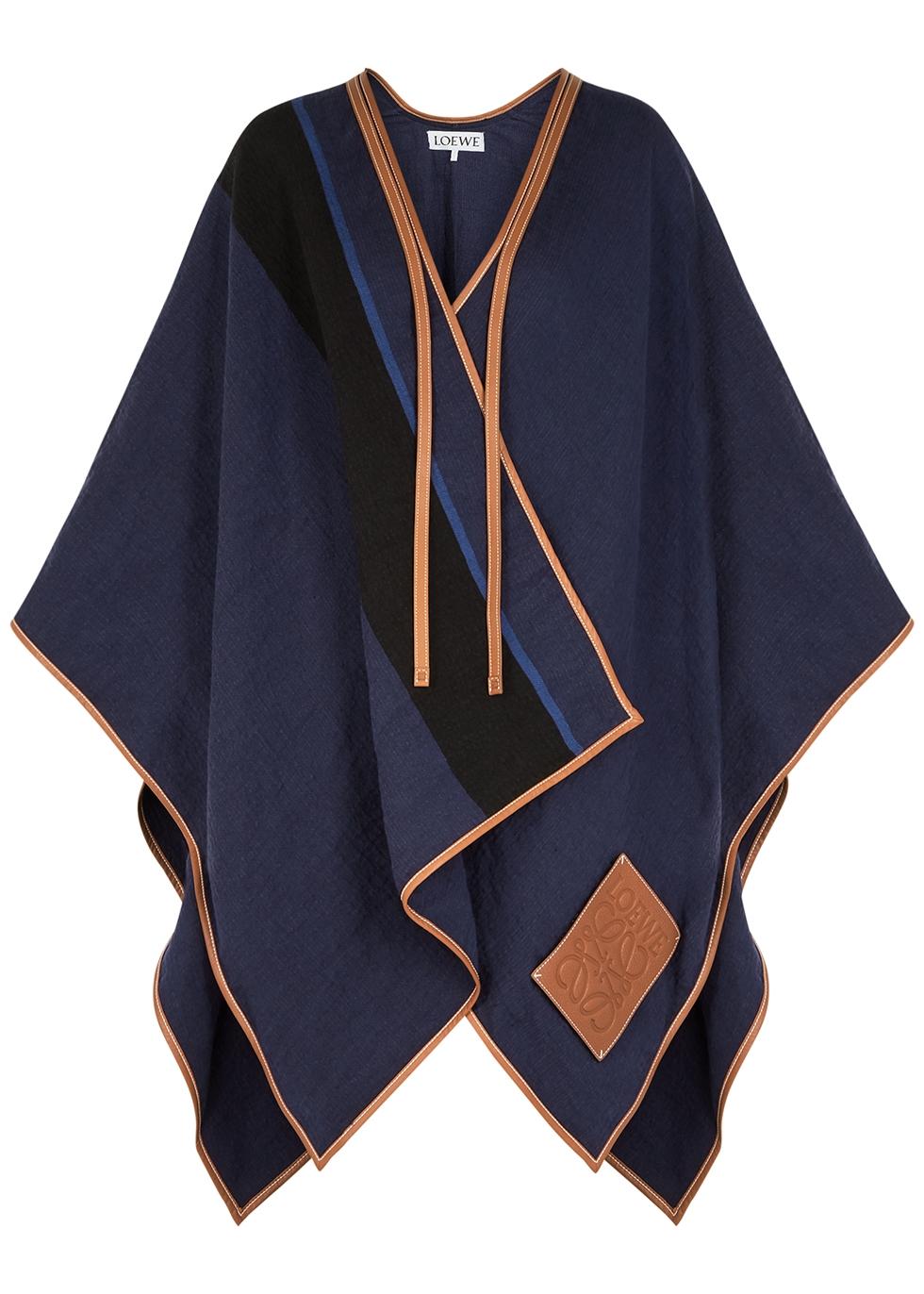 Striped leather-trimmed linen-blend cape