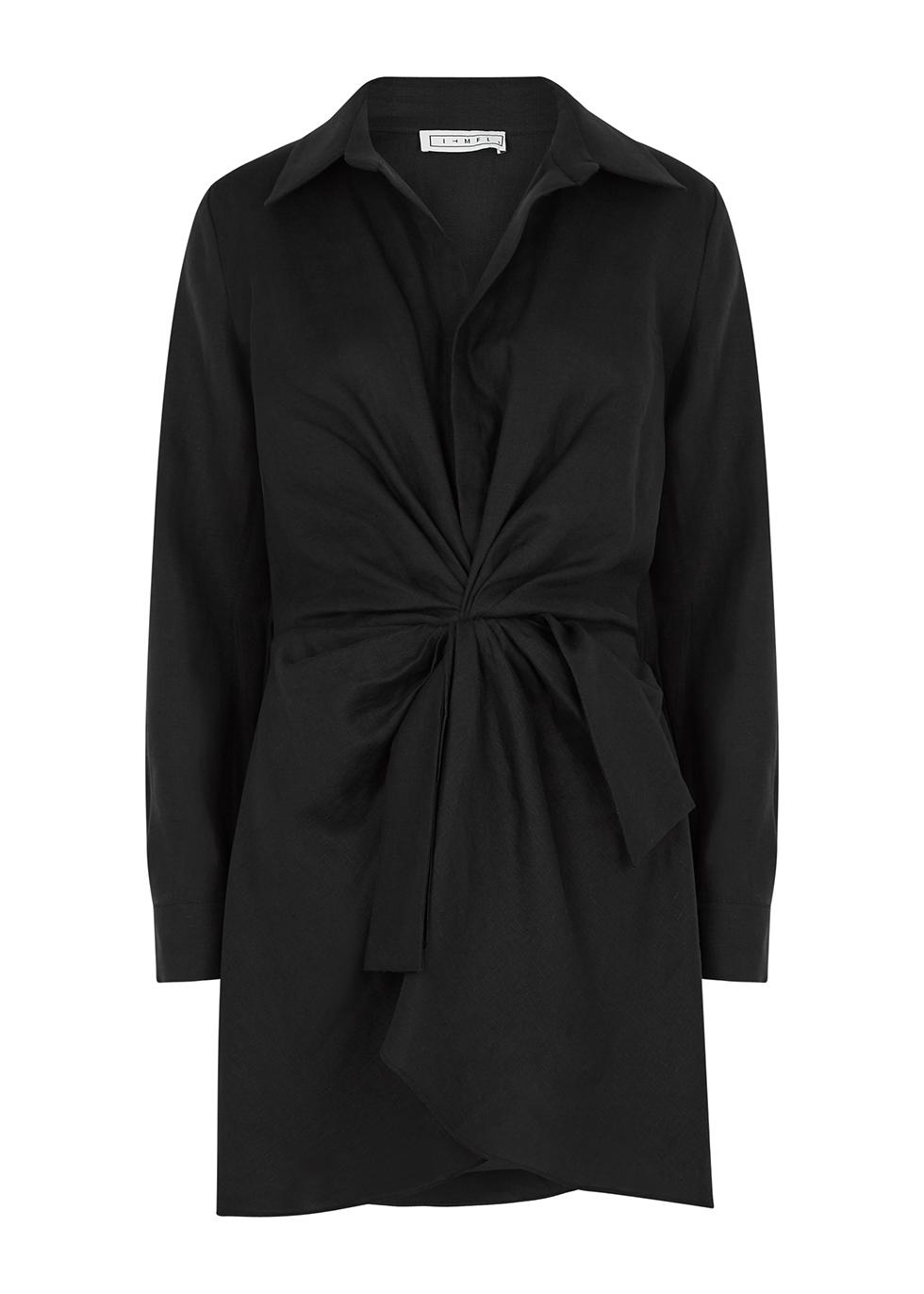 Harry black linen mini dress