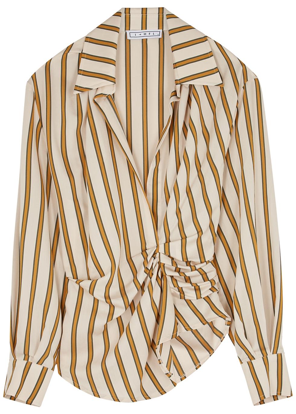 Joelle striped draped shirt