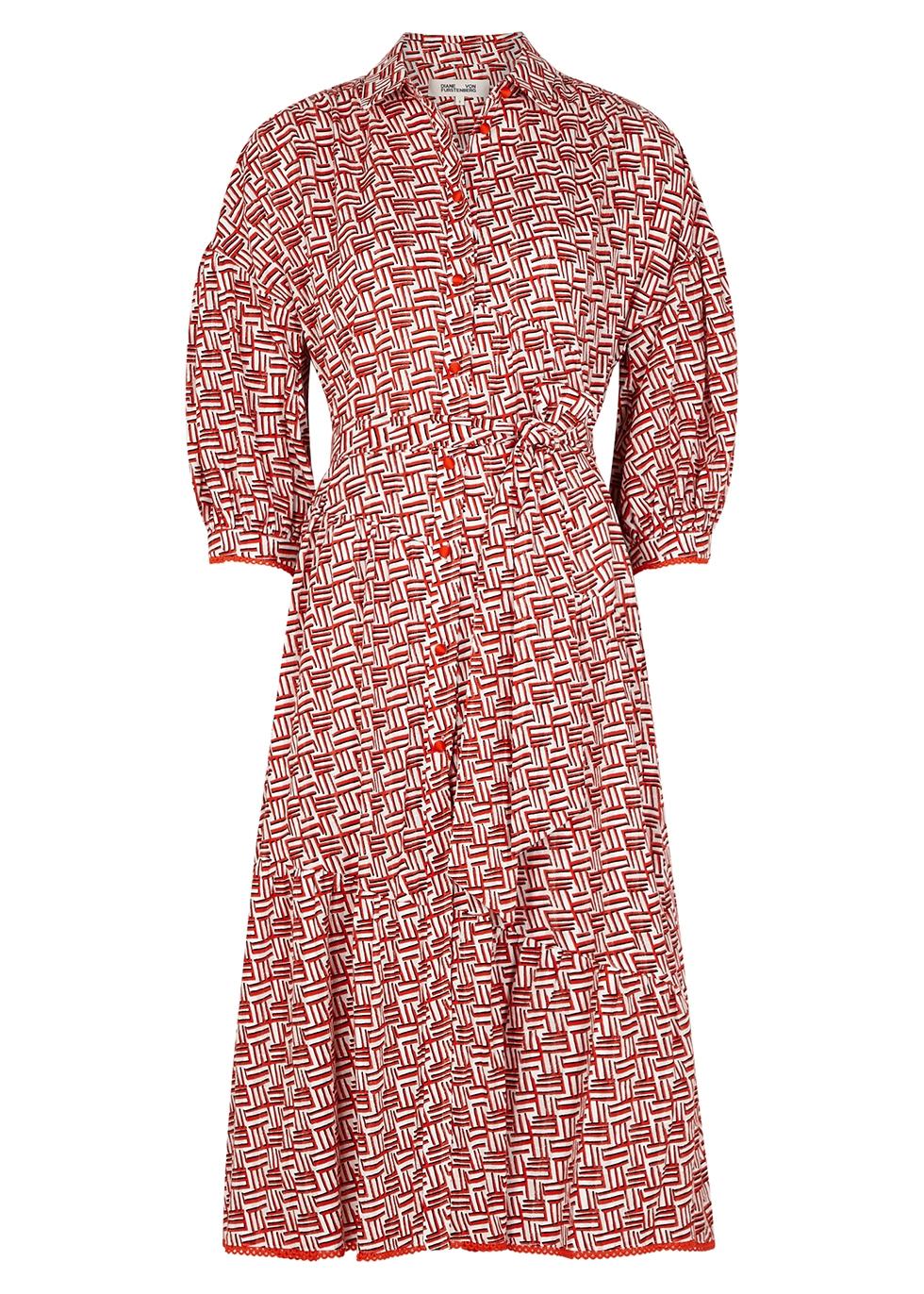 Luna printed cotton shirt dress