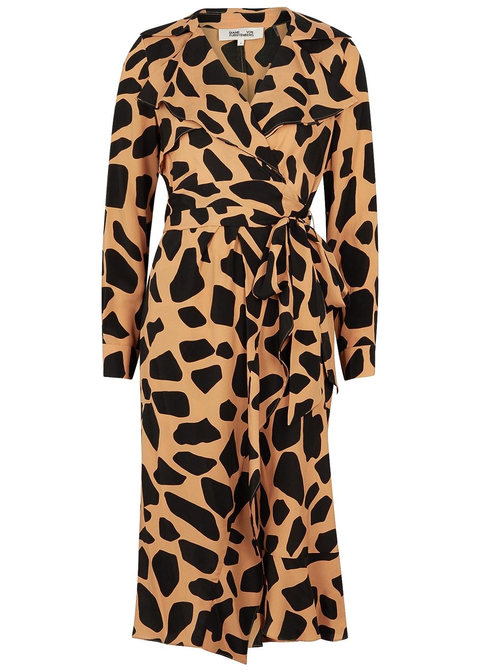 Eden giraffe-print wrap dress