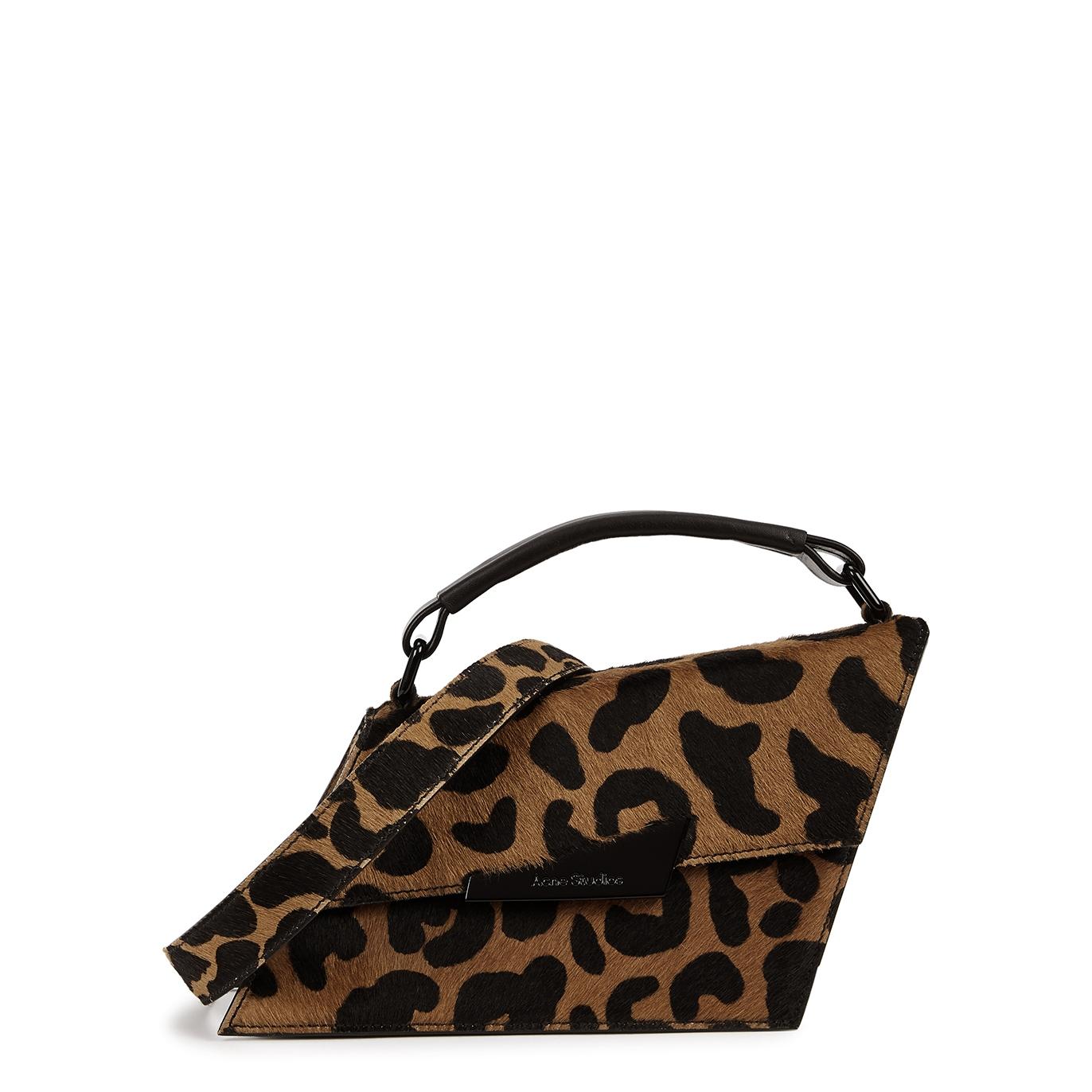 Distorted mini leopard-print calf hair top handle bag
