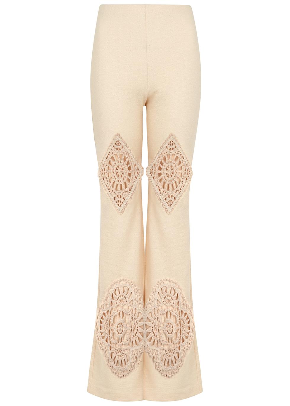 Evelta crochet-trimmed cotton-blend trousers