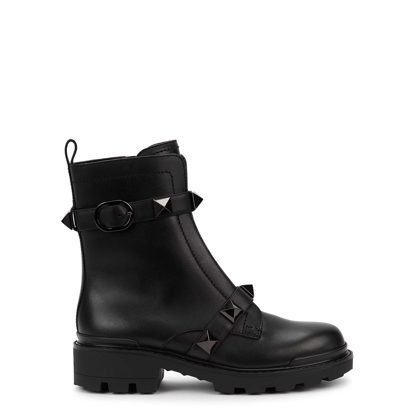 Valentino Garavani Roman Stud black leather ankle boots