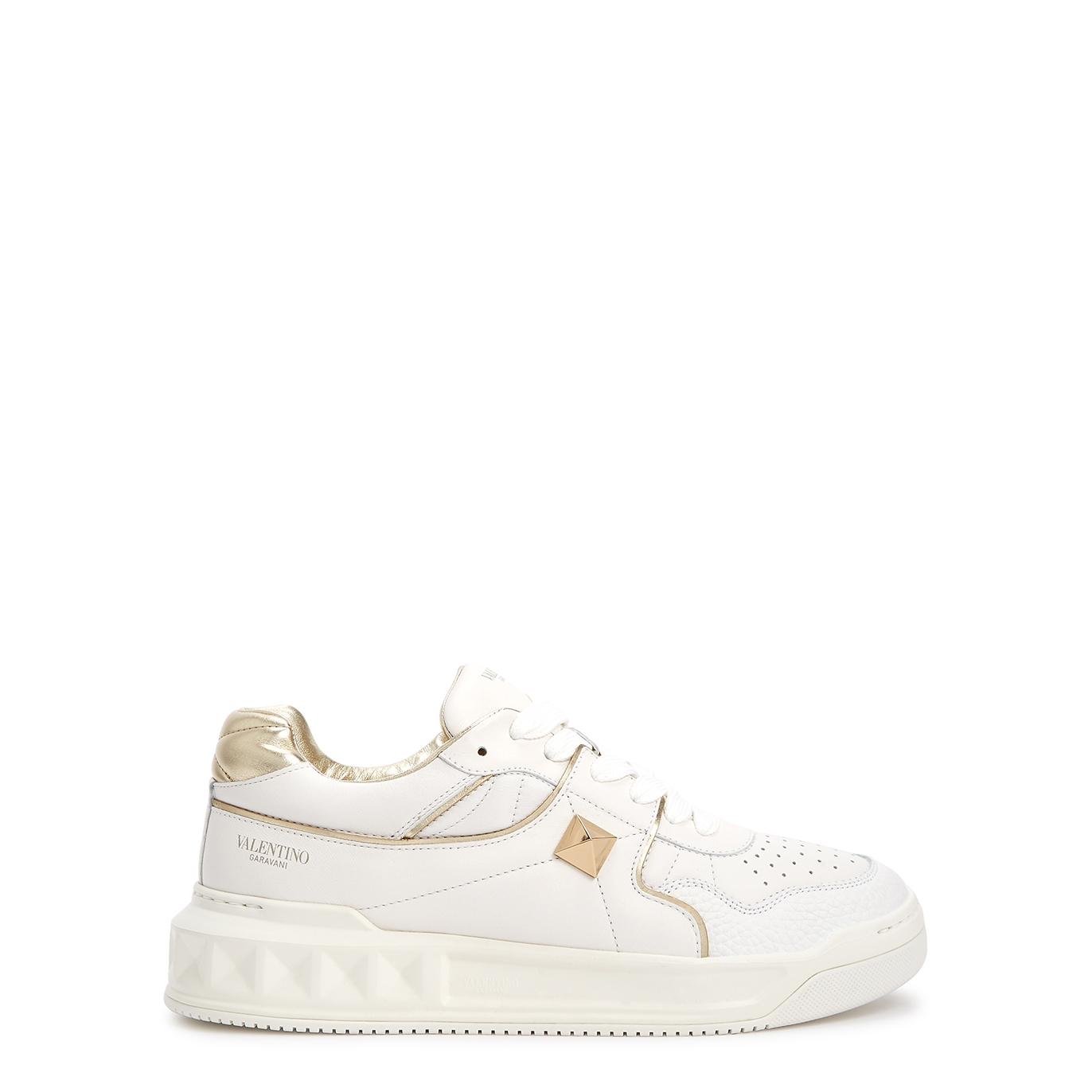 Valentino Garavani One Stud white leather sneakers
