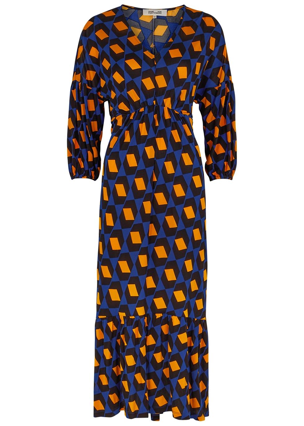 Ebony printed stretch-jersey midi dress