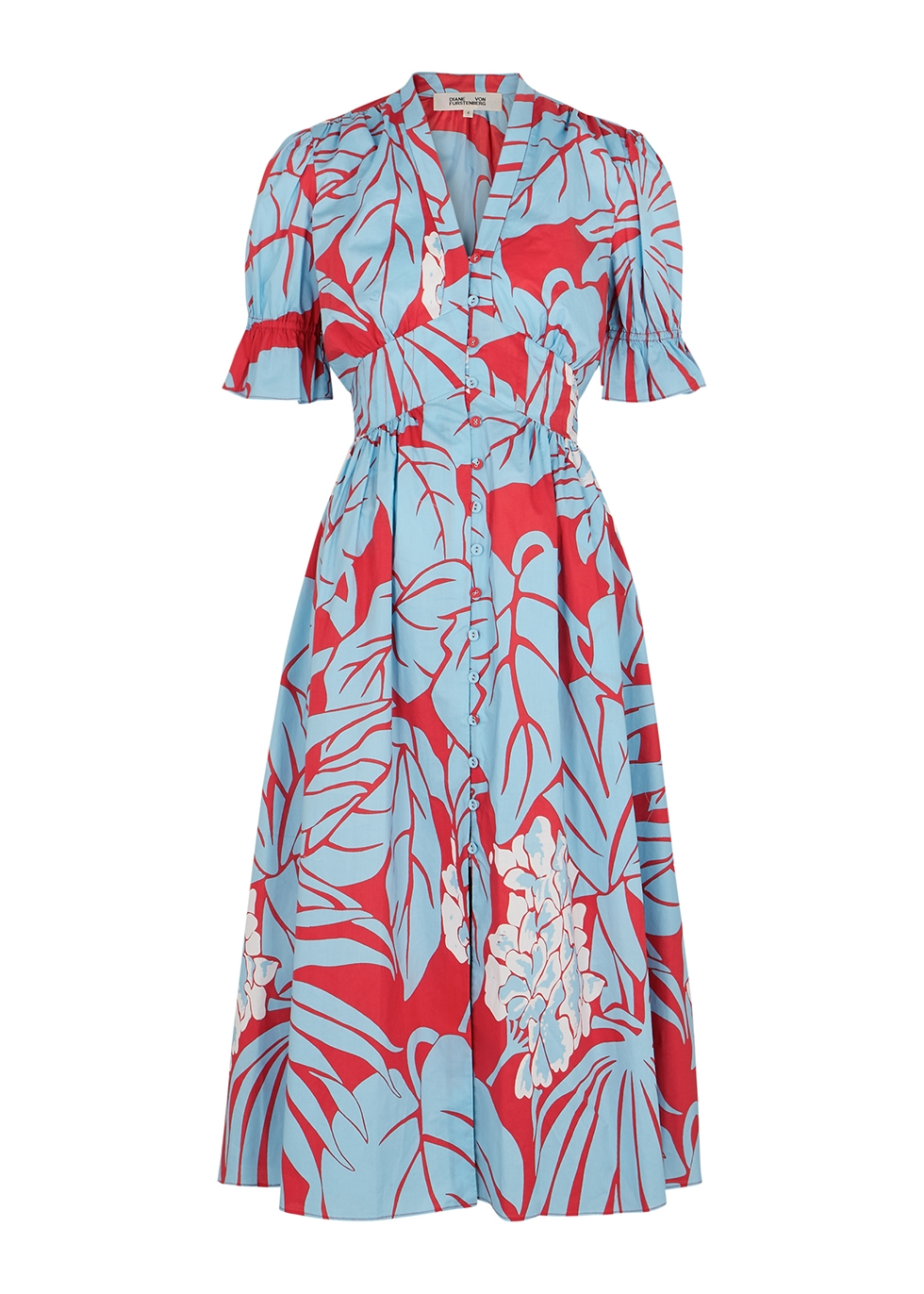 Erica floral-print cotton midi dress