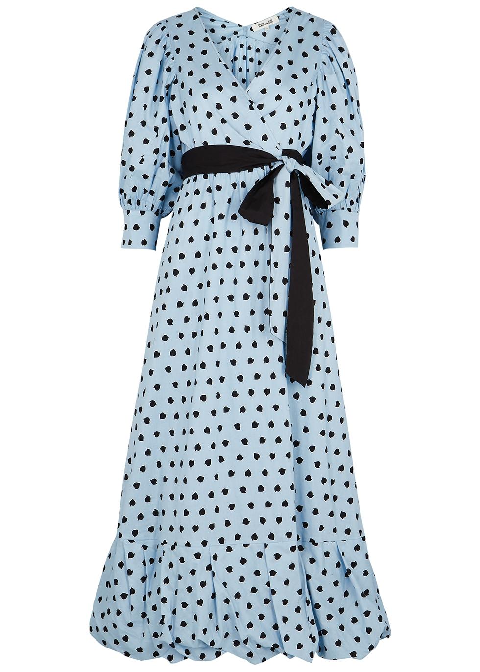 Ulrica blue printed cotton wrap dress