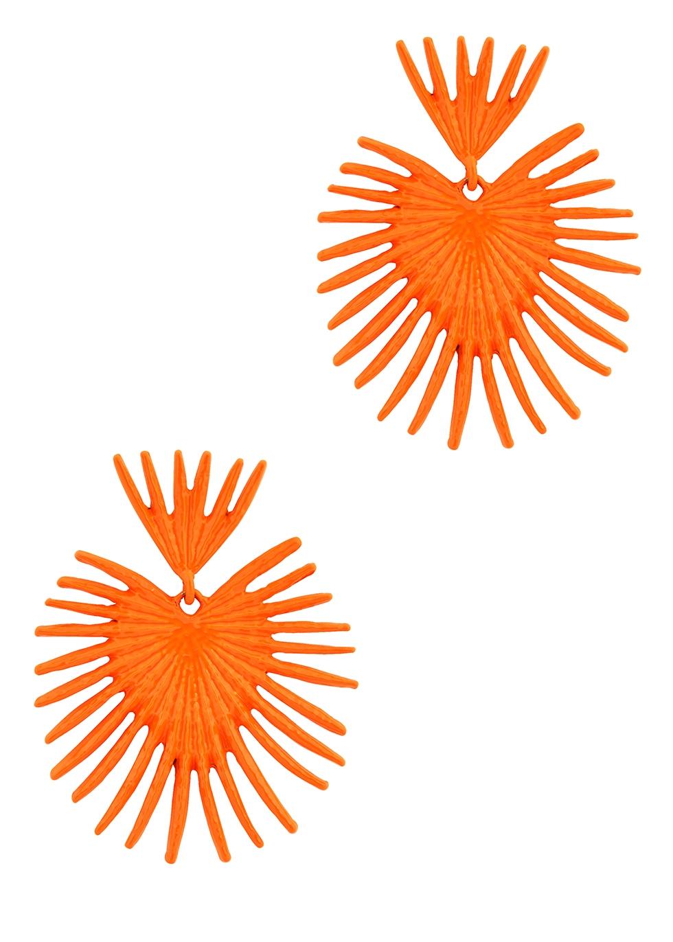 Coral enamelled earrings