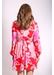 Paisley printed mini dress in pink and red - Traffic People
