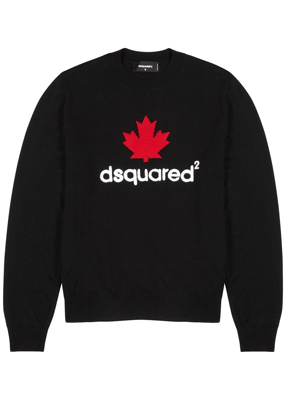 Black logo wool jumper