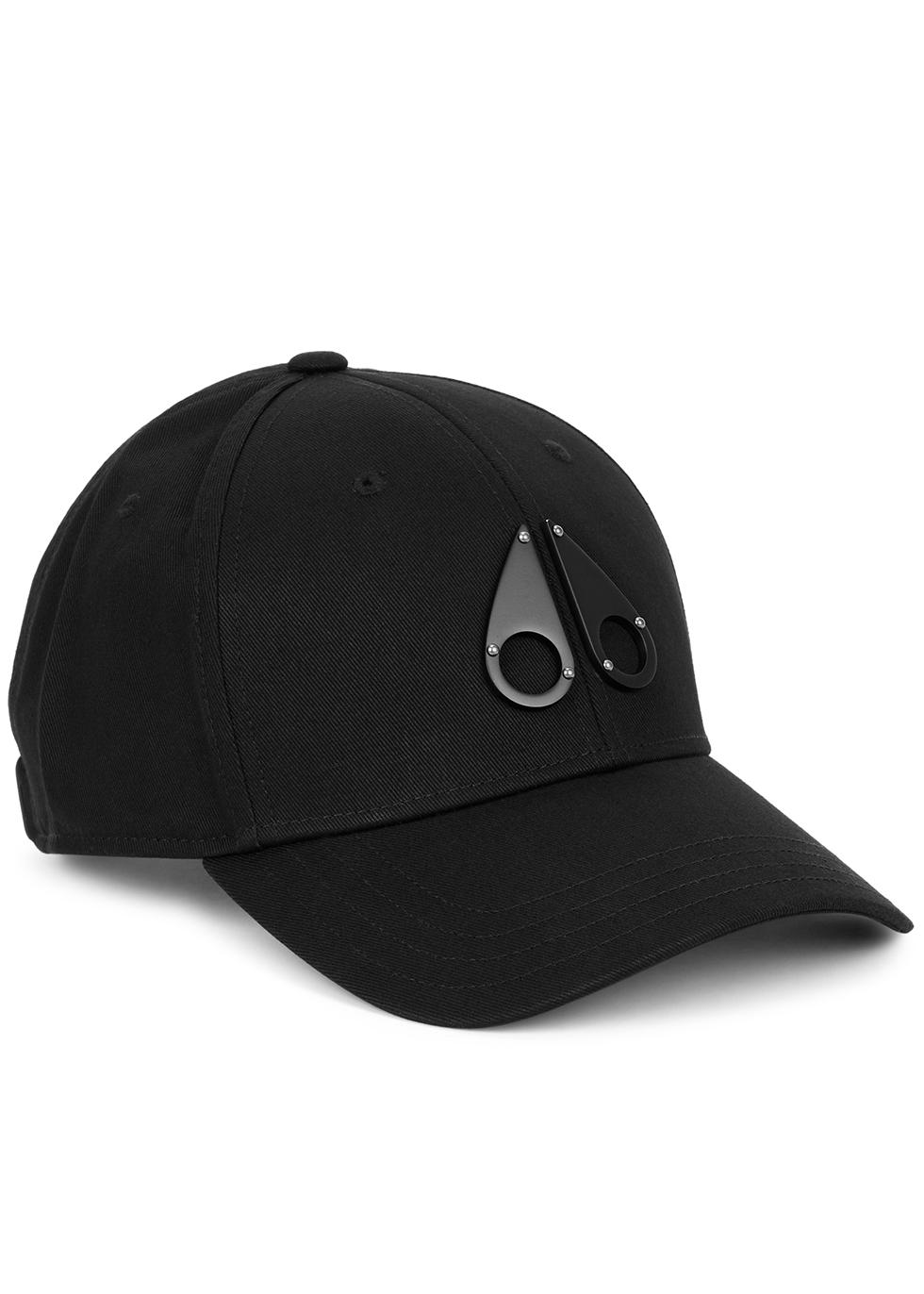 Black logo cotton-twill cap