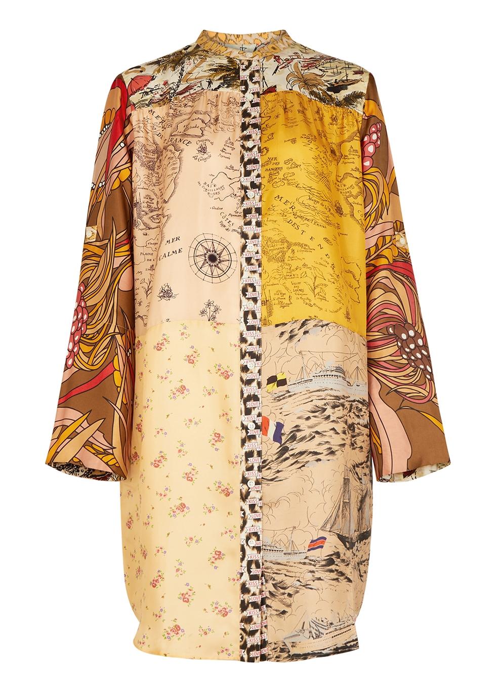Printed silk-twill shirt dress