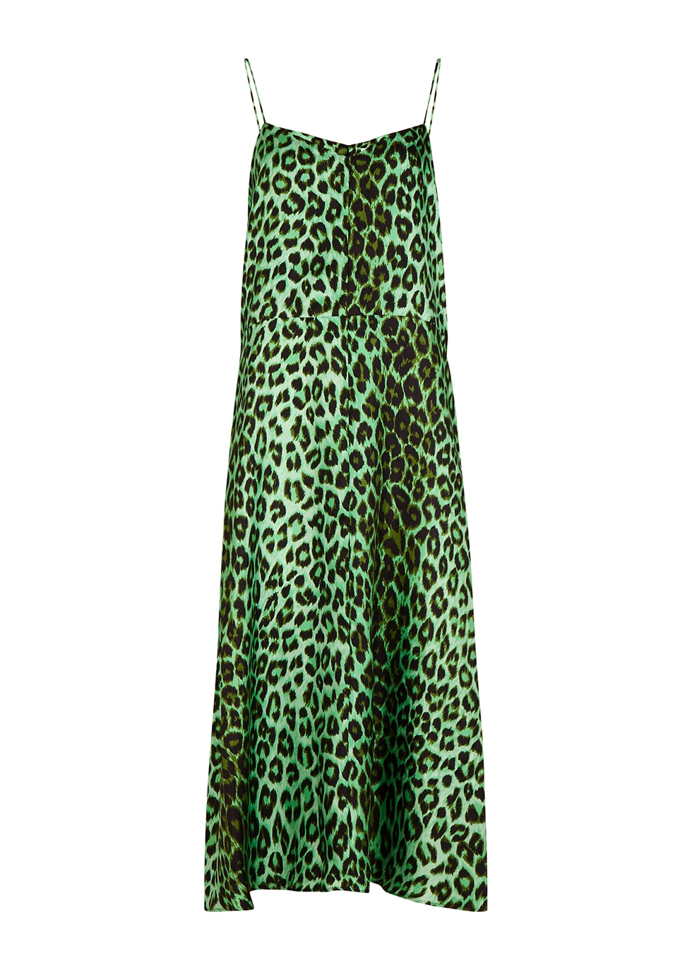 Rose leopard-print silk slip dress