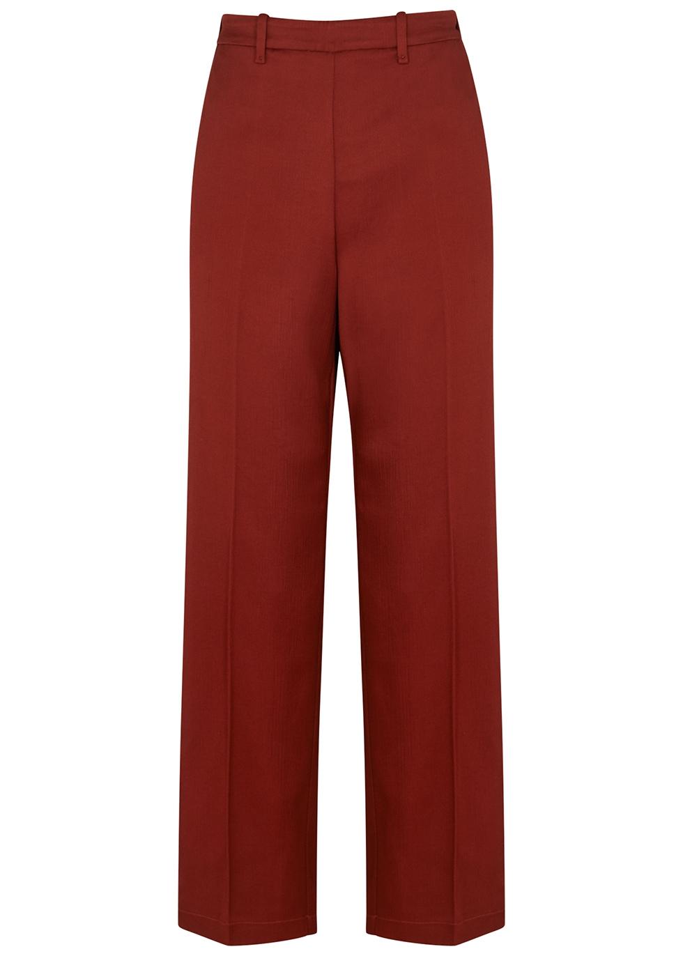Terracotta straight-leg satin trousers