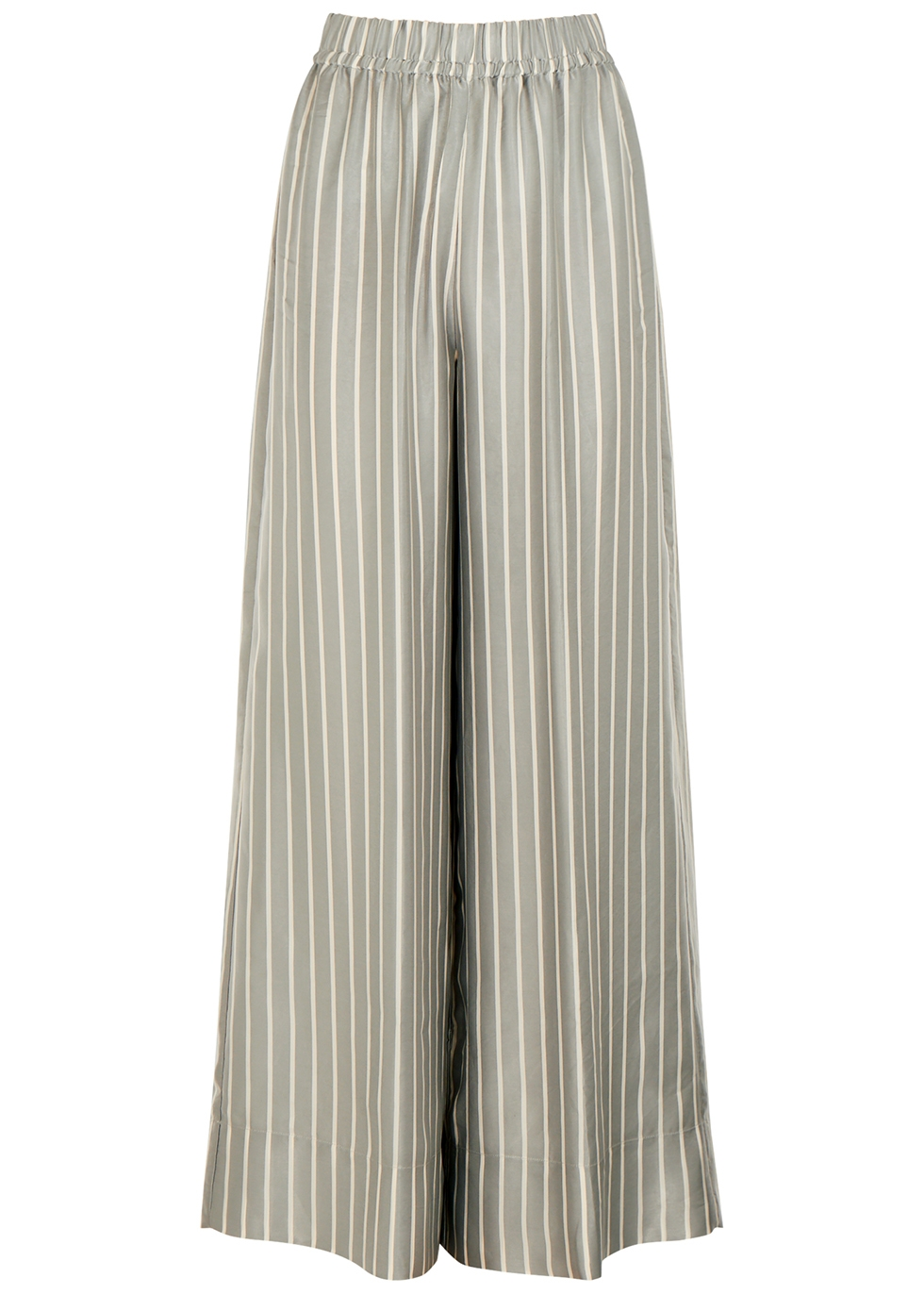 Grey striped wide-leg satin trousers