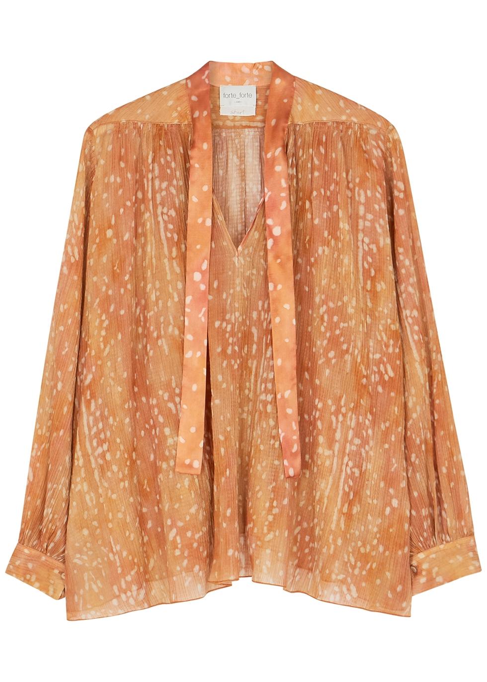 Orange printed plissé georgette blouse