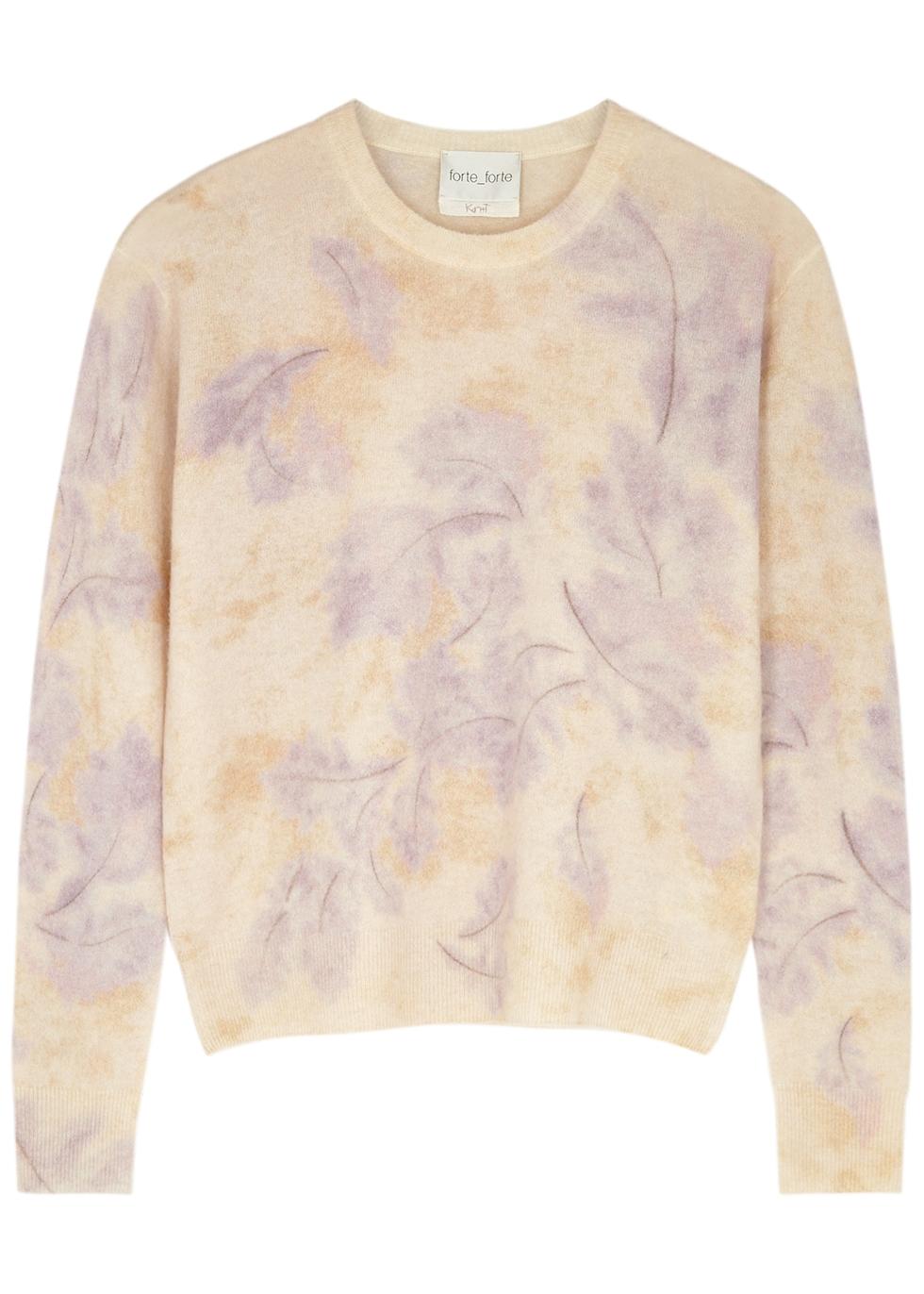 Leaf-print wool-blend jumper