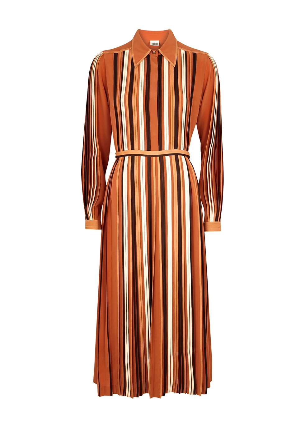 Striped silk crepe de chine shirt dress