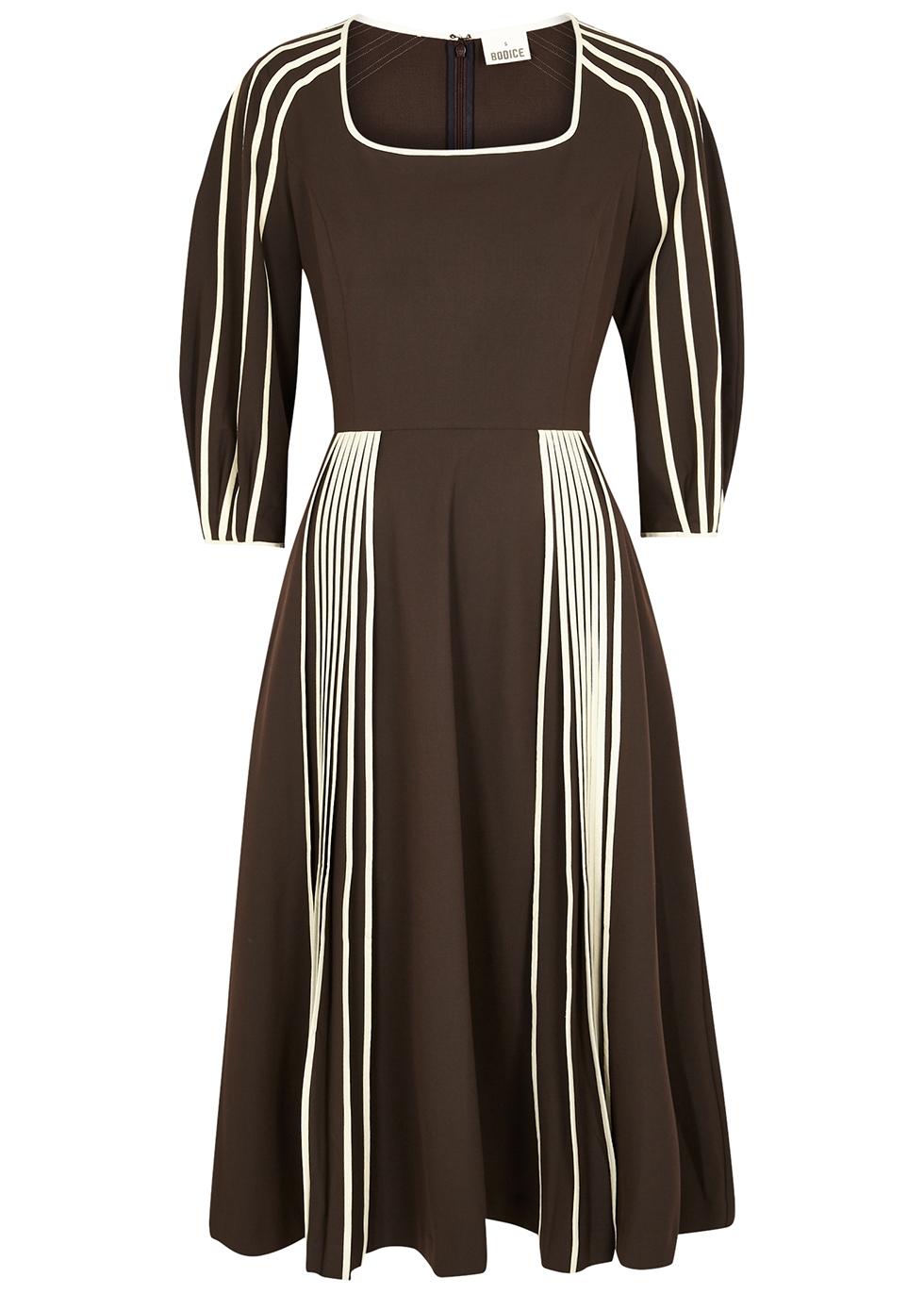 Dark brown striped woven midi dress