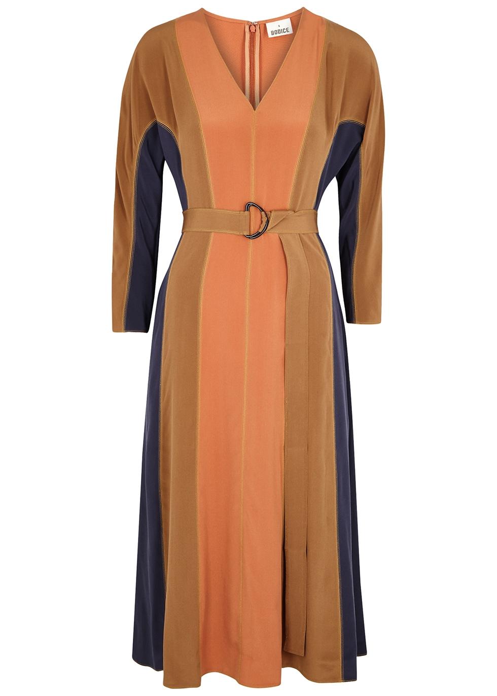 Color-blocked silk crepe de chine midi dress