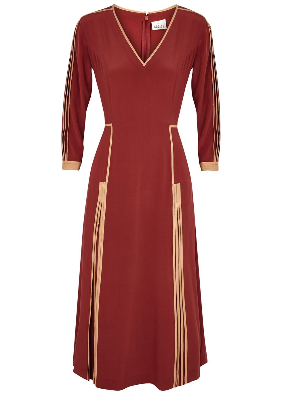 Red silk crepe de chine midi dress