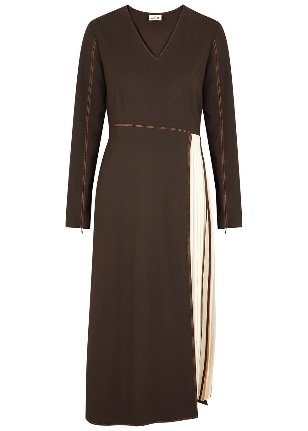 Dark brown panelled midi dress