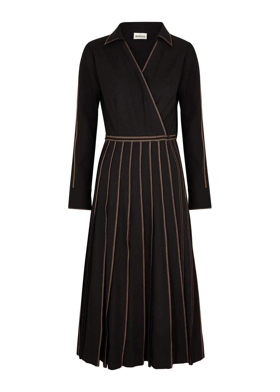 Black pleated woven wrap dress