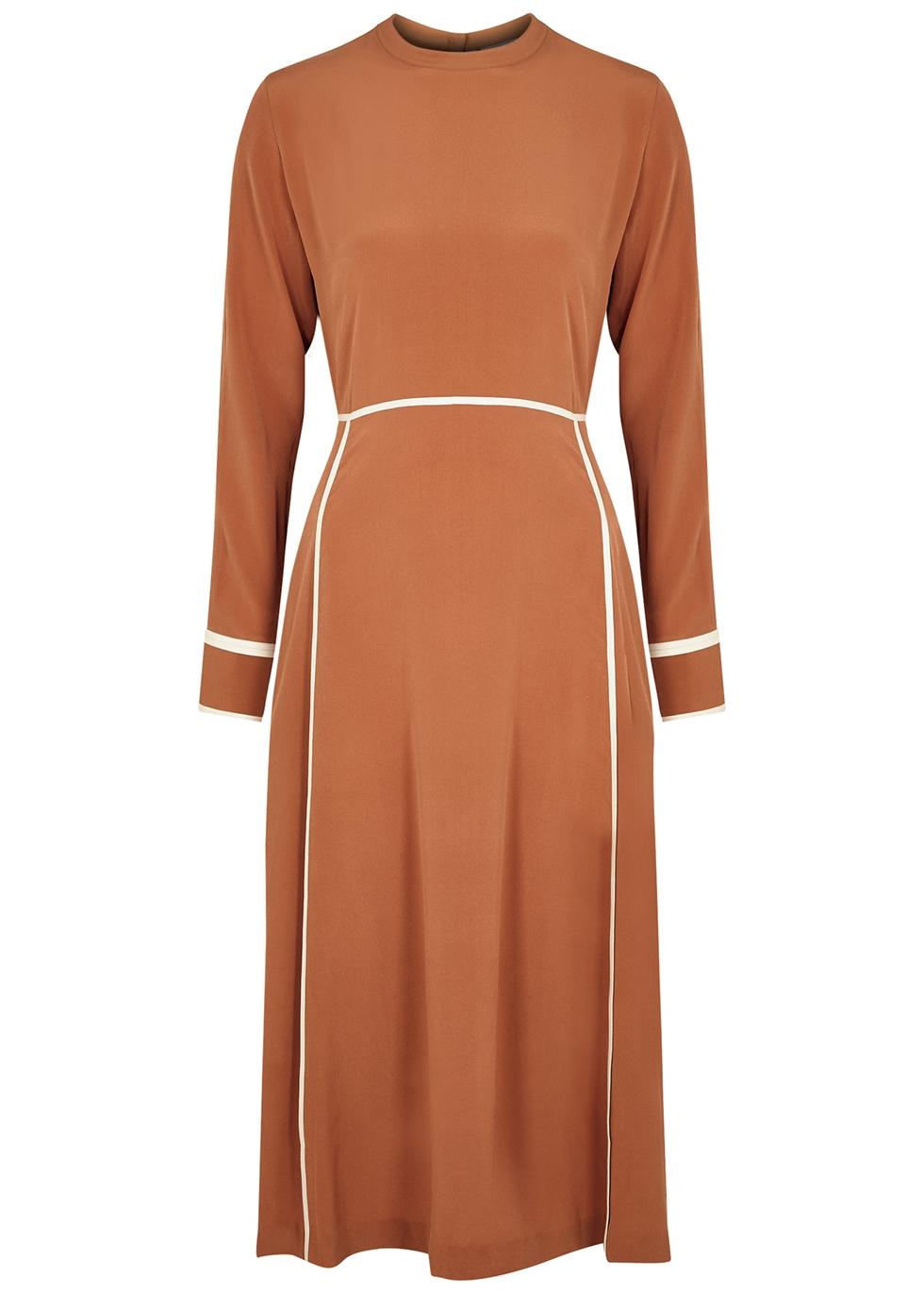 Orange panelled silk crepe de chine midi dress